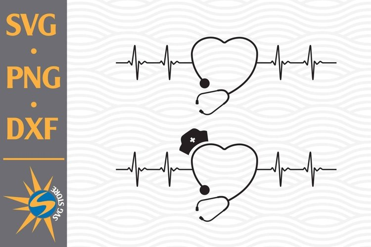 Stethoscope Heartbeat SVG, PNG, DXF Digital File Include