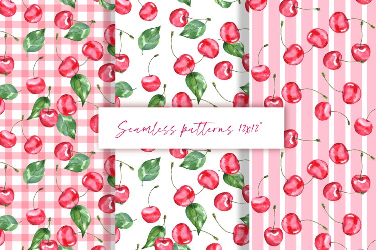 Cherry. Watercolor patterns
