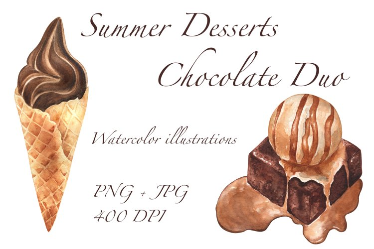 Summer Desserts, Chocolate Duo. Watercolor illustrations PNG