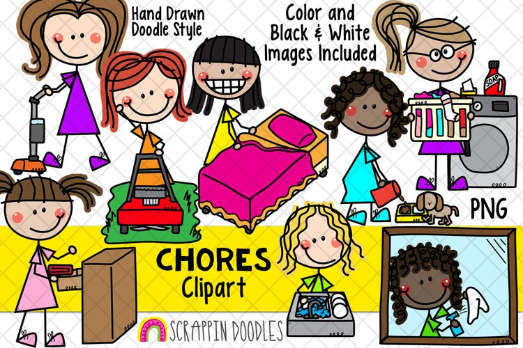 Household Chores ClipArt -Doodle Girls Chores Clipart