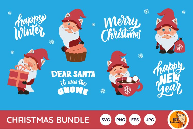 Christmas bundle svg, png. Winter gnomes and quotes