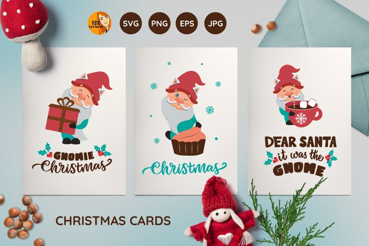 Christmas cards. Cartoon gnomes and quotes png, svg, jpg