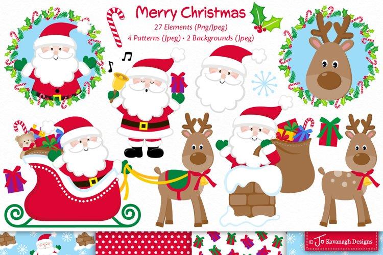 Christmas clipart, Santa clipart, Cute santa C53