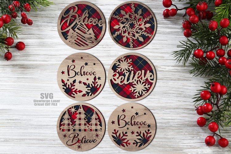 Believe Christmas Rounds Coaster Set SVG Glowforge Files example image 1