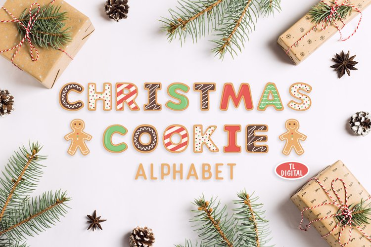 Christmas Cookie Alphabet - 56 PNG Graphics - Fun Letters