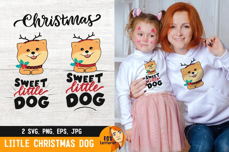 Little Dog svg, png. Christmas dog with quote