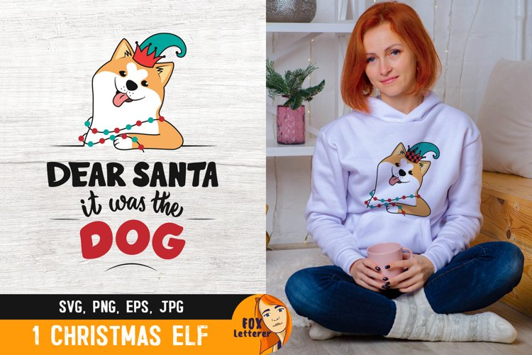 Christmas dog in a elf hat with quote. Funny dog svg, png