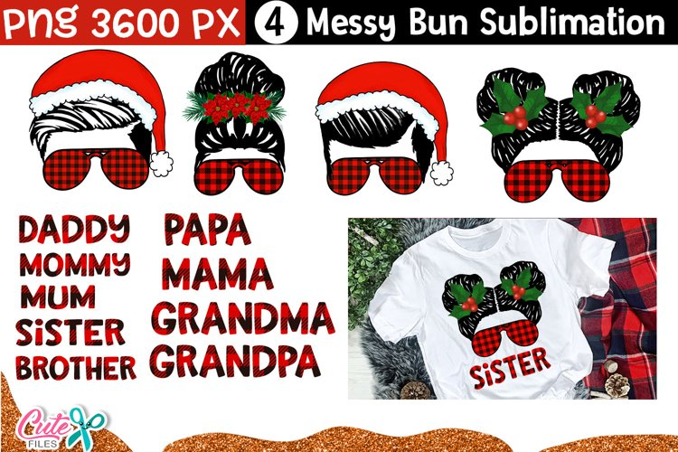 Chritmas Family messy bun|sublimation bundle