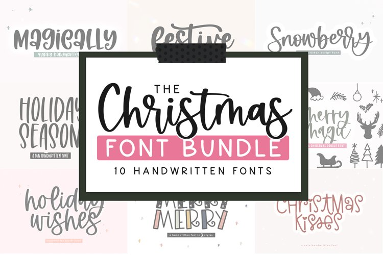 Christmas Font Bundle - 10 Fun Holiday Fonts for Crafters example image 1