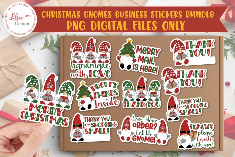 Thank You Business Christmas Gnomes PNG Stickers Bundle