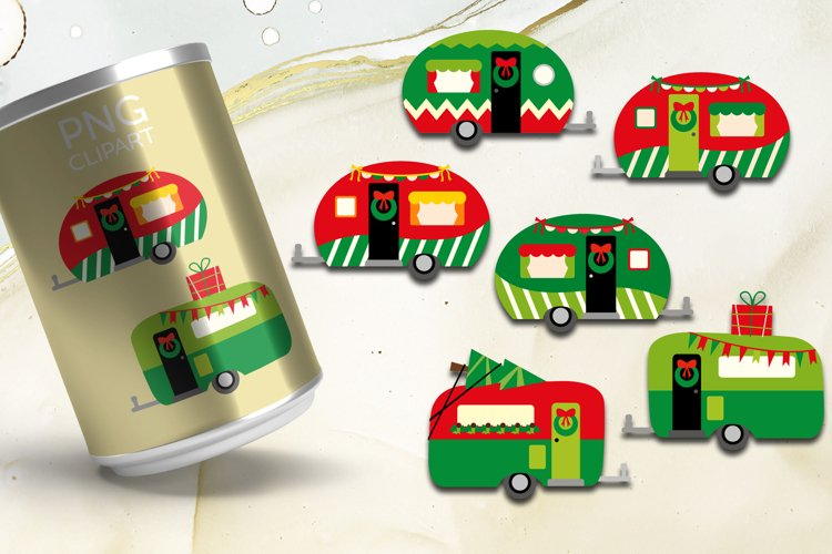 Christmas happy camper clipart bundle for crafter and designer