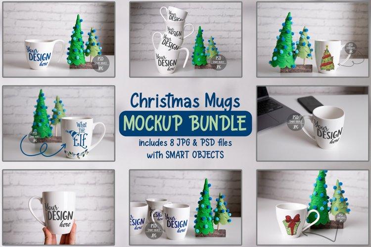 Christmas Mugs Mockup Bundle with Smart Objects