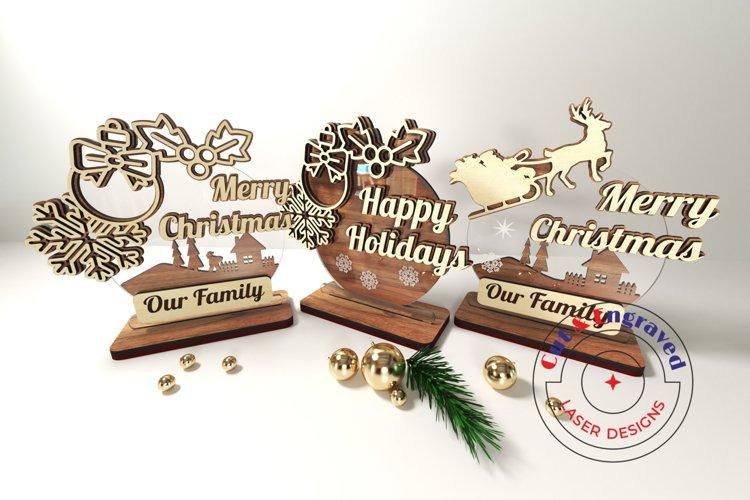Christmas ornament, 3 styles, New Year. Glowforge ready.