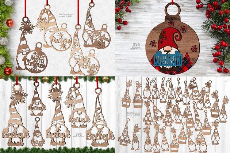Christmas Gnome Ornament SVG Glowforge Files Bundle 41 example image 1
