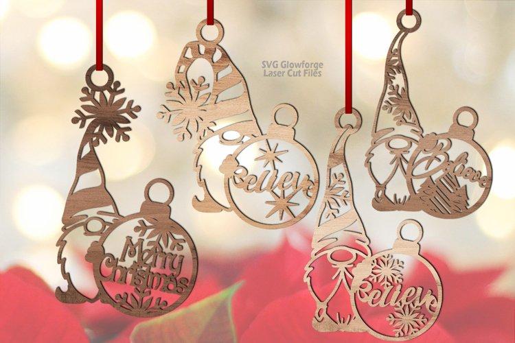 Christmas Snowflake Gnome Ornaments SVG Glowforge Bundle example image 1