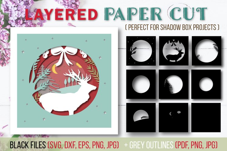 Christmas Layered Papercut SVG Cut File - Shadow Box - Stag example image 1