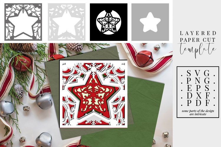 Christmas Star Layered Paper Cut, 3D SVG, Merry Christmas