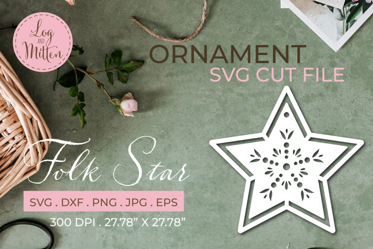 Christmas Ornament SVG Cut File - Star SVG example image 1