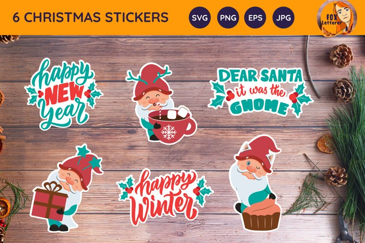 Cartoon Gnome, quotes for Christmas. Printable stickers svg