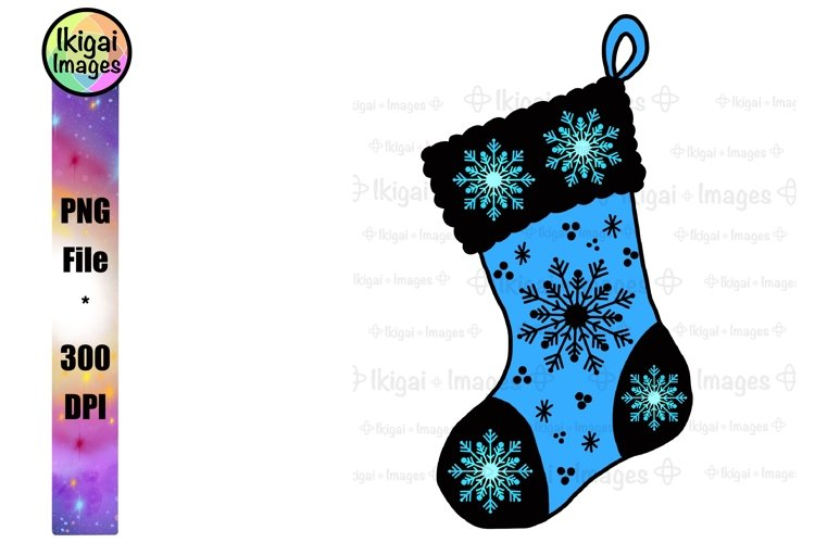 Christmas Stocking Clipart with Snowflakes Sublimation PNG