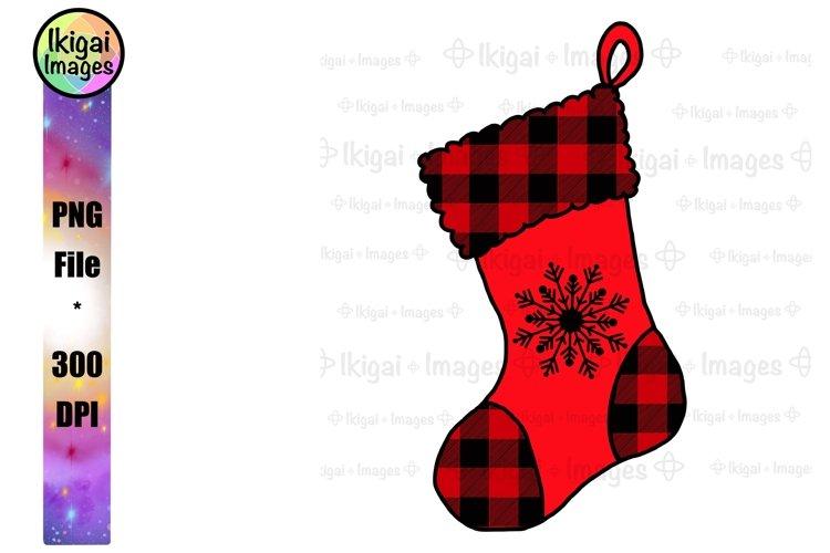 Christmas Stocking Clipart, Buffalo Plaid Sublimation, PNG
