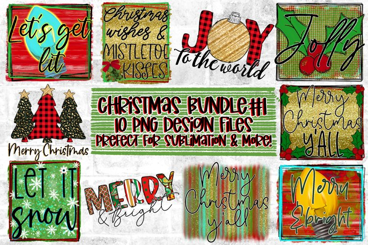 Christmas/Holiday Design Bundle |10 PNG Files|Sublimation example image 1
