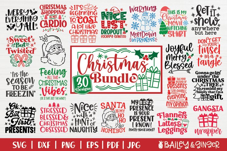 Funny Christmas SVG   Cute Winter SVG Bundle for Shirts