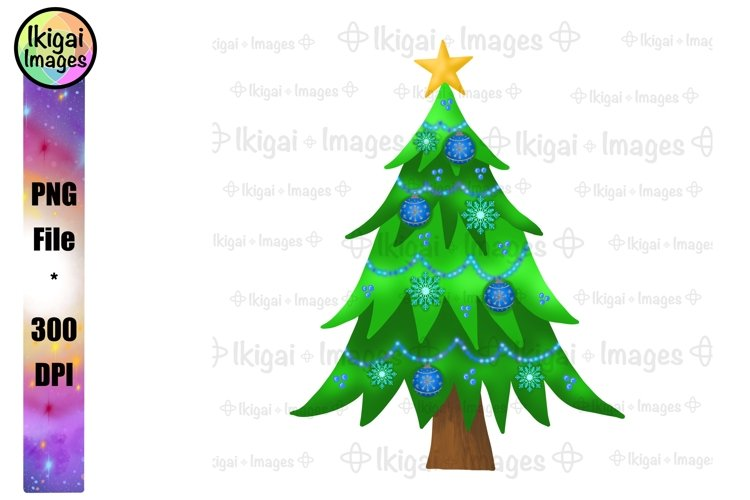 Blue Christmas Tree with Ornaments Snowflakes Sublimation