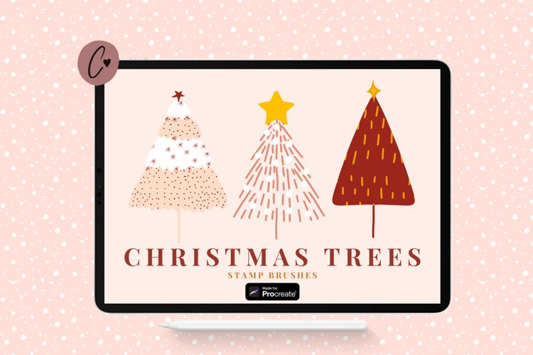 Christmas Tree Stamp Brushes for Procreate example image 1