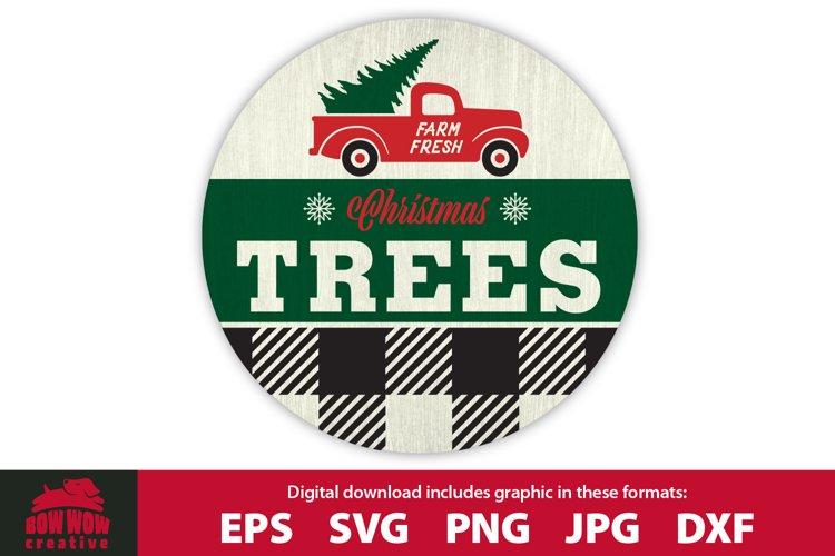 Farm Fresh Christmas Tree Truck - Round Front Door Sign