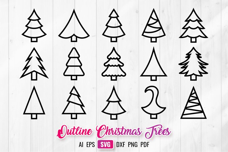 Christmas Trees SVG Outline Silhouettes