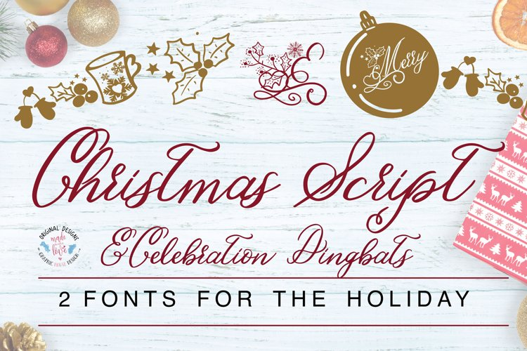 Christmas Script and Celebrations Dingbat Font Duo example image 1
