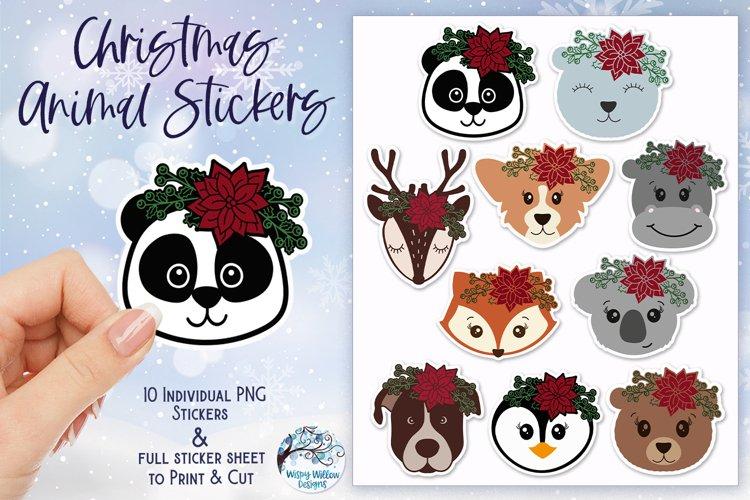Christmas Animal Stickers PNG   Reindeer, Fox, Panda, Koala