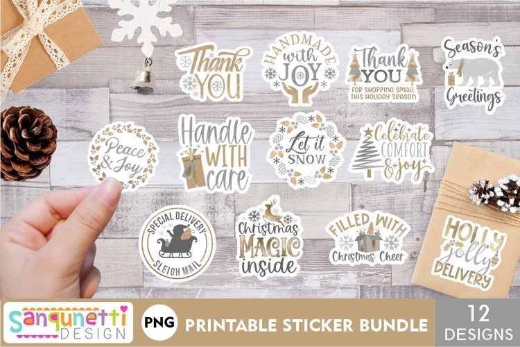 Silver and Gold Christmas small business sticker bundle example image 1