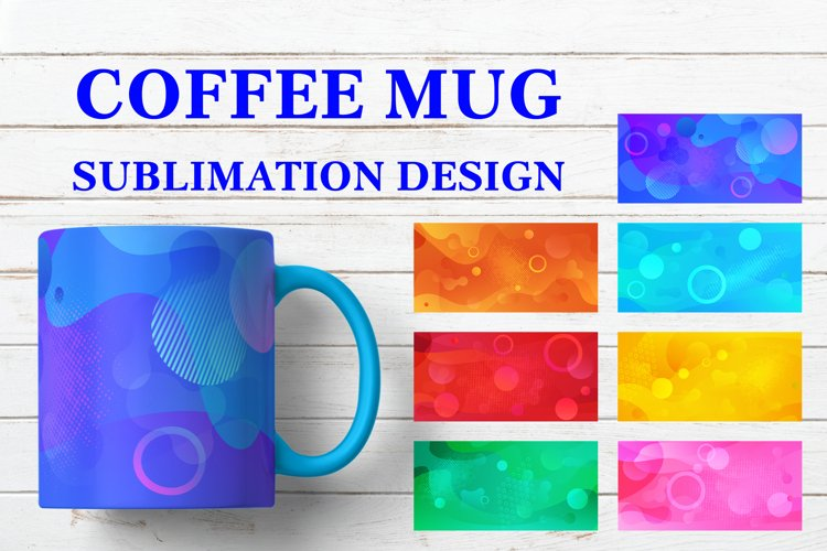 Coffee Mug Sublimation Designs. Abstract Bright Sublimation