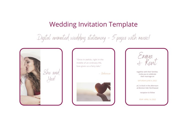 Wedding Invitation Canva Template. 5 Pages with Audio file.