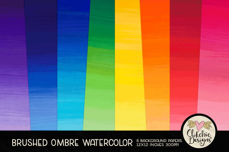 Watercolor Background Paper - Brushed Ombre Watercolor example image 1