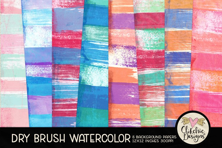 Watercolor Scrapbook Papers Dry Brush Watercolor Backgrounds example image 1