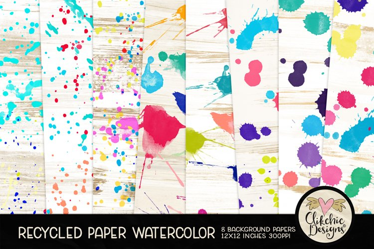 Watercolor Background Paper - Recycled Craft Paper Splatters example image 1