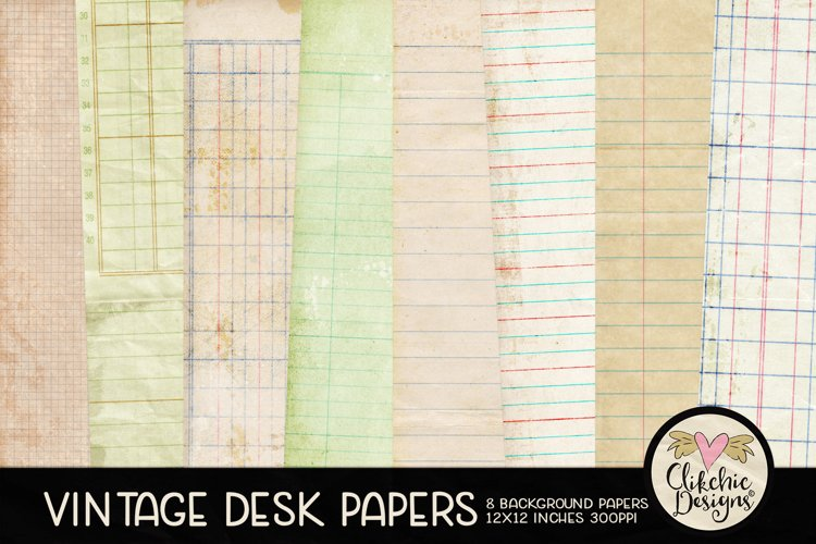 Vintage Paper Backgrounds - Vintage Desk Papers Textures