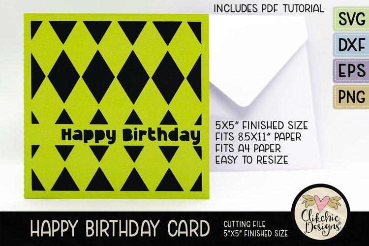 Happy Birthday Card SVG - Argyle Birthday Card Cutting File example image 1