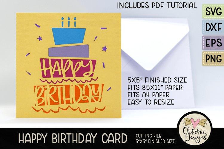 Happy Birthday Card SVG - Cake Birthday Card Cutting File example image 1