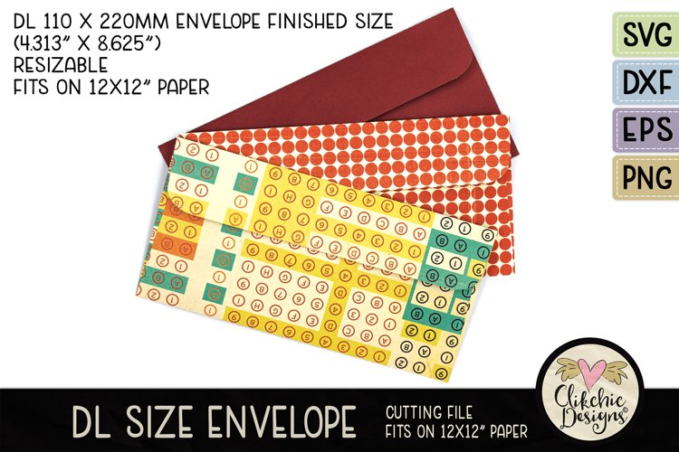 Slimline Envelope SVG - DL Envelope Cutting File example image 1