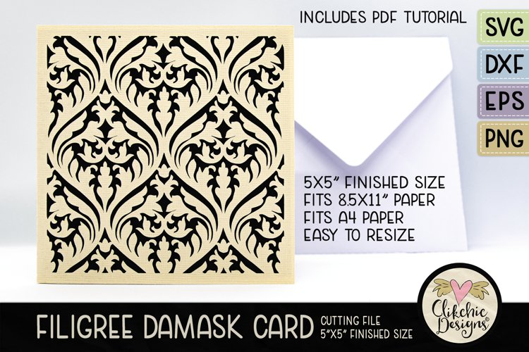 Filigree Damask Card SVG - Filigree DamaskCard Cutting File