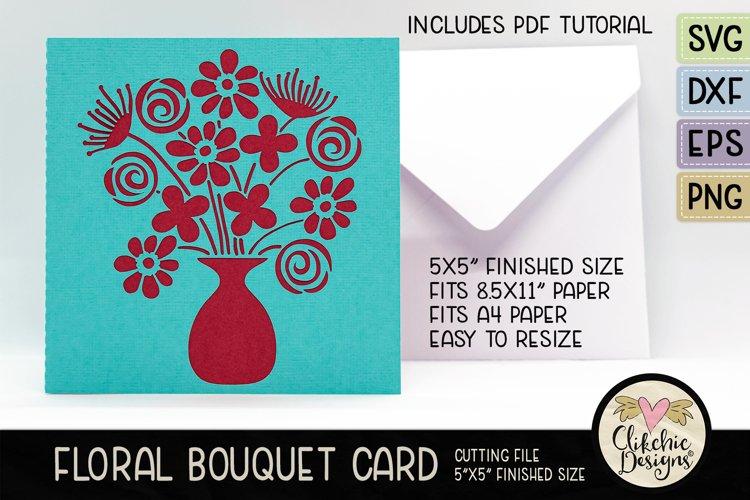 Floral Bouquet Card SVG - Floral Bouquet Card Cutting File