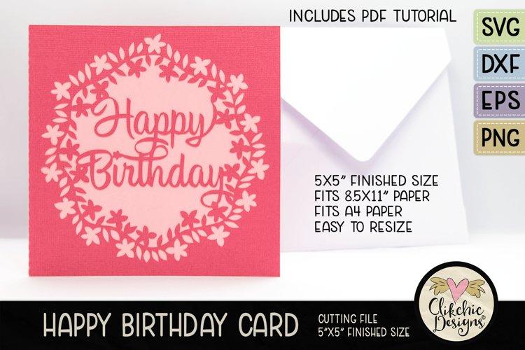 Floral Wreath Happy Birthday Card SVG - Birthday Card Cuttin