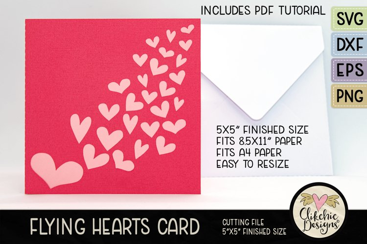 Love Hearts Card SVG - Flying Hearts Card SVG Cutting File