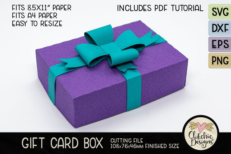 Gift Card Box SVG Cutting File - Gift Card Box with Bow example image 1