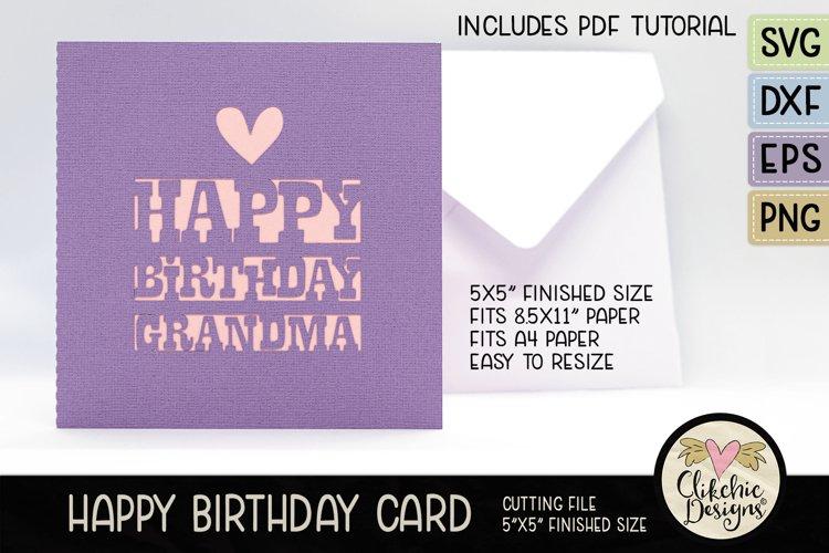 Happy Birthday Grandma Card SVG - Grandma Birthday Card SVG