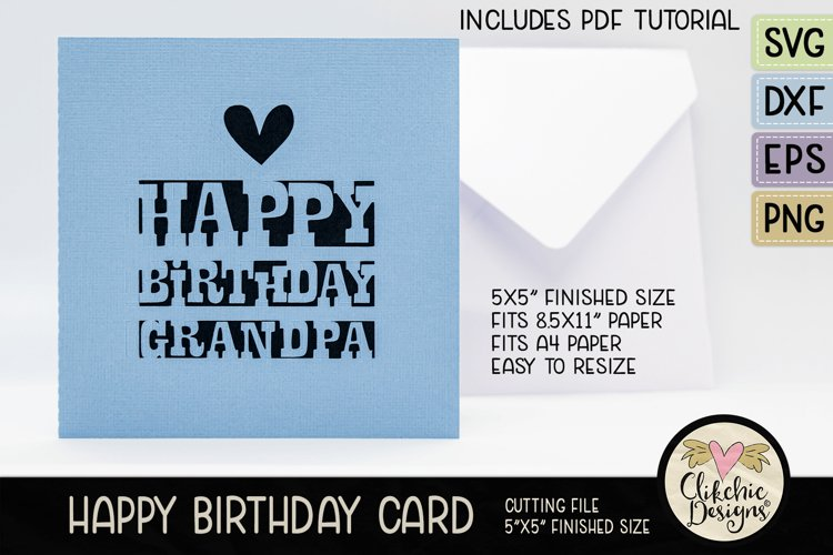 Happy Birthday Gandpa Card SVG - Grandpa Birthday Card SVG